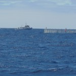 Tuna pens with another overnight boat in the background.